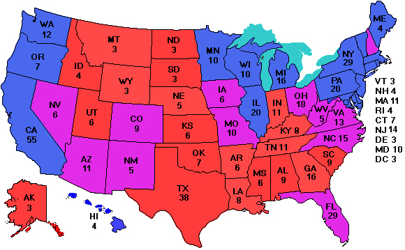 ElectoralVote - Map of electorate in us
