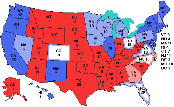 ElectoralVote - Us electoral votes map