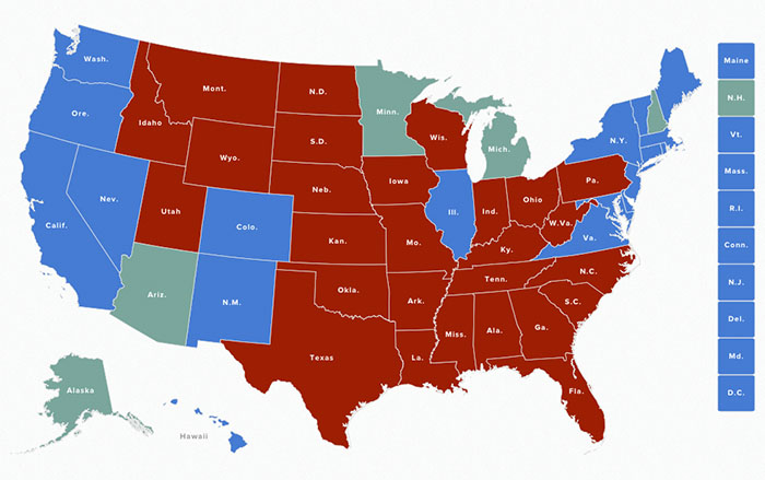 of the five states still not called trump seems very likely to win alaska arizona and michigan clinton is likely to win minnesota
