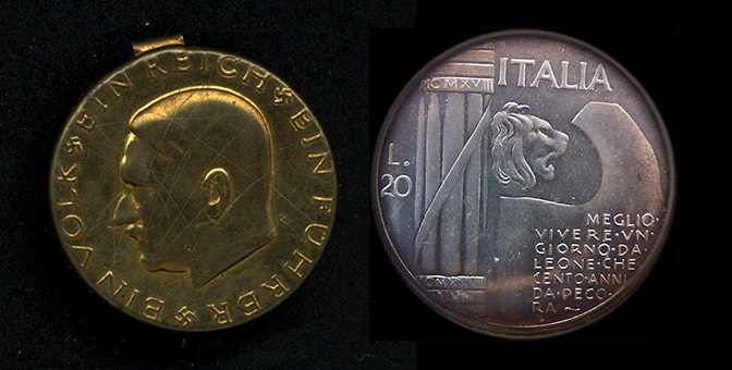Hitler and Mussolini coins
