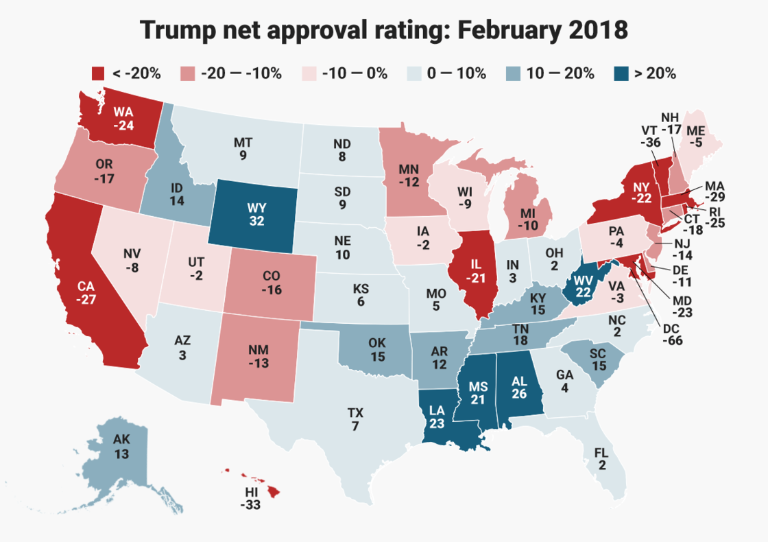 Trump approval, Feb 2018