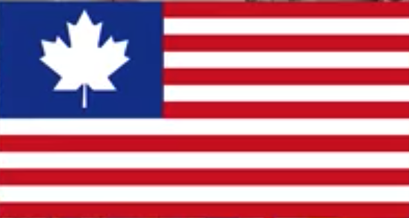 A U.S. flag, but with the 50 stars replaced by a white maple leaf