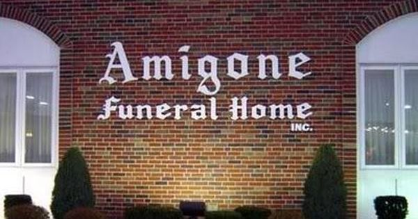 Sign for Amigone Funeral Home