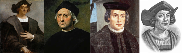 Four picture; Columbus as a middle-aged guy in an explorer's costume, a second of an elderly man who looks like a scholar, a third of an elderly man who looks more like Martin Luther, and an engraving where he has very dark coloration