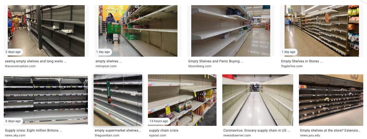 eight images of empty shelves; the chosen image is the second one in the second row of four, accompanied by a link from The Guardian.