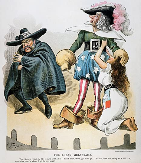 The 1898 cartoon, from 'Puck' magazine, references the elements of a melodrama, with Spain as the mustachioed villain, the U.S. as the hero, and Cuba as the damsel in distress.